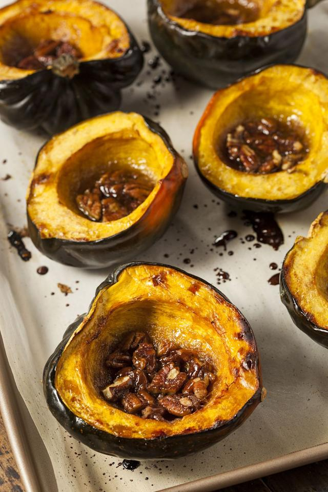 "<p>With only 56 calories per cup, this winter squash is loaded with vitamin C, potassium, and fiber, which helps prevent blood sugar spikes, keeps you full, and can even contribute to <a href=""https://www.redbookmag.com/body/g4657/best-cholesterol-lowering-foods/"" target=""_blank"">lowering cholesterol</a>. Naturally sweeter than <a href=""https://www.redbookmag.com/food-recipes/g2985/pumpkin-dessert-recipes/"" target=""_blank"">pumpkin</a>, acorn squash tastes delicious when simply roasted with olive oil.</p>"