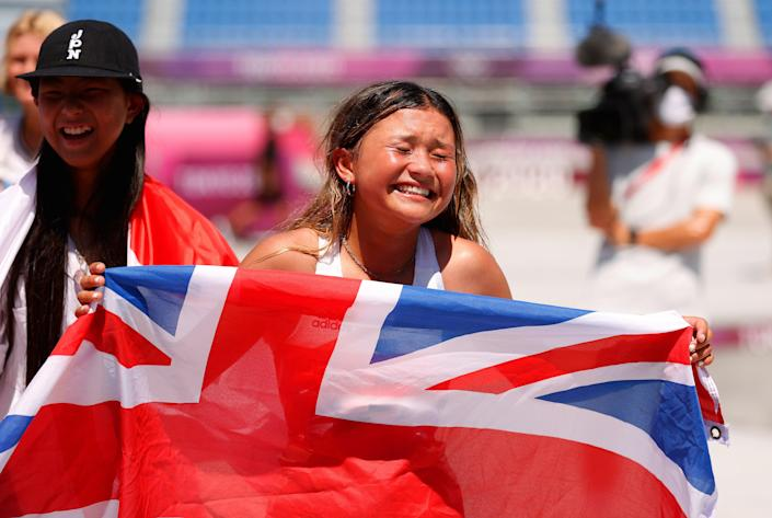 Sky Brown of Team Great Britain  reacts after winning the Bronze medal during the Women's Skateboarding Park Finals on day twelve of the Tokyo 2020 Olympic Games (Getty Images)