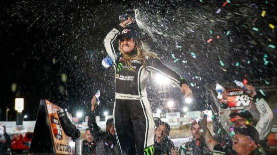 Hailie Deegan spins teammate to win at Colorado National Speedway