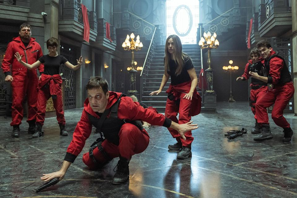 """<strong><em>Money Heist (Season 5) </em></strong><br><br>The fifth instalment of the groundbreaking Spanish series is back, with the first of two volumes airing this September. We pick up with the gang locked in the Bank of Spain, reckoning with the aftermath of losing one of their own. With no escape plan and a looming enemy at the scene, what started as a robbery has the potential to escalate into a war. <br><br>Available 3rd September<span class=""""copyright"""">Photo Courtesy of Netflix.</span>"""