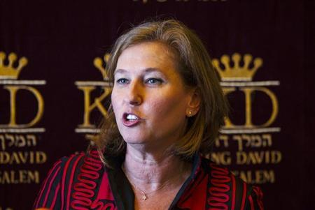 Israel's Justice Minister Livni delivers a statement before her meeting with France's Foreign Minister Fabius in Jerusalem
