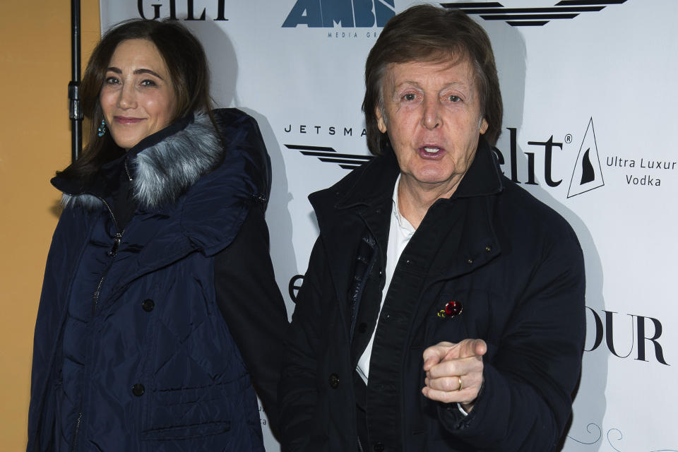 "Nancy Shevell and Paul McCartney attend a screening of ""This Beautiful Fantastic"" at the SVA Theatre on Monday, Dec. 19. 2016, in New York. (Photo by Charles Sykes/Invision/AP)"
