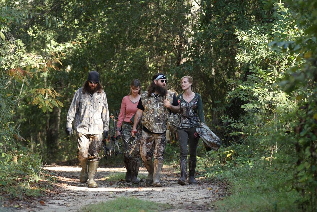 "Jase Robertson, Missy Robertson, Willie Robertson and Korie Robertson in the ""Duck Dynasty"" Season 3 episode, ""Let's Go Hunting, Deer."""