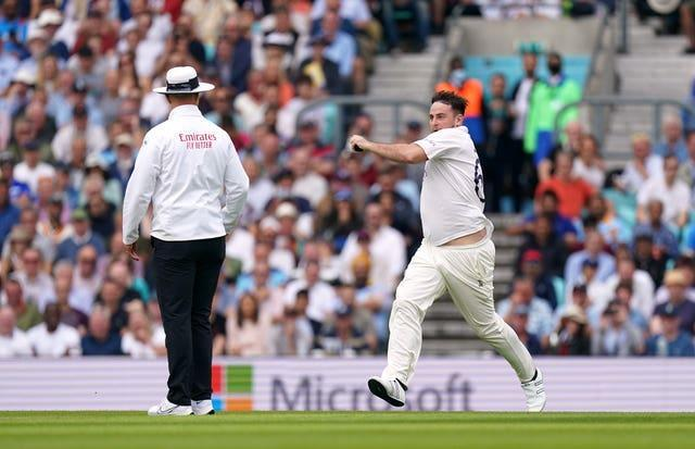 The pitch invader attempted to send down a delivery after running on to the field of play.