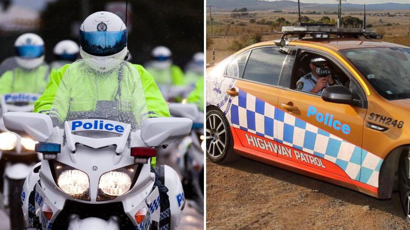 NSW police officers riding motorcycles on the left and an officer in a NSW highway patrol car on the right.