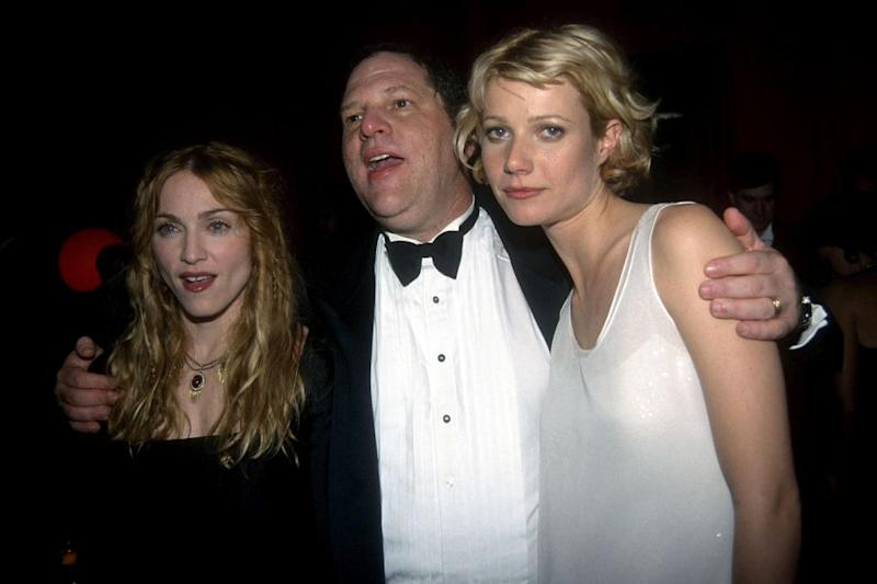 (L-R) Madonna, Harvey Weinstein and Gwyneth Paltrow attend Annual Golden Globe Awards After Party Hosted by Miramax Films at the Beverly Hilton Hotel on January 18, 1998 in Beverly Hills, CA. Source: Getty