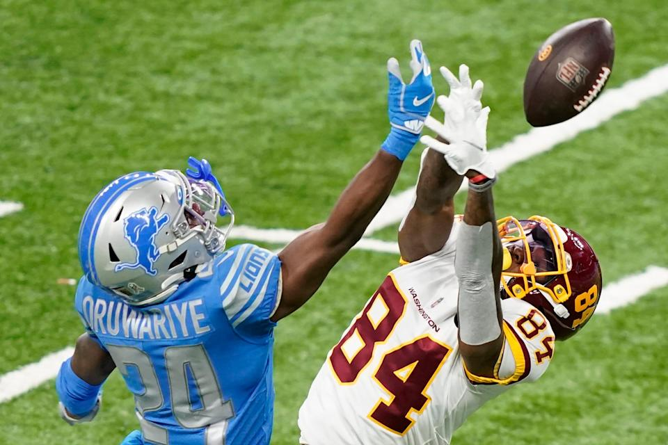 Detroit Lions cornerback Amani Oruwariye deflects a pass intended for Washington Football Team wide receiver Jeff Badet during the second half Sunday, Nov. 15, 2020, in Detroit.