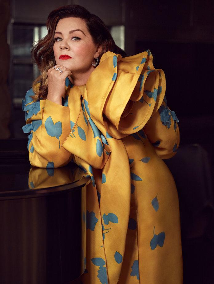 <p>McCarthy in a Marc Jacobs coat and necktie and Atelier Swarovski Fine Jewelry by Penélope Cruz earrings and rings. Photographed by&nbsp;Robbie Fimmano.</p>