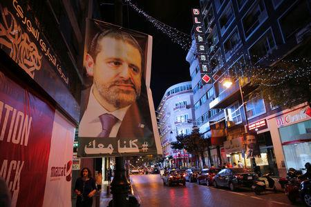A poster depicting Saad al-Hariri, who has resigned as Lebanon's prime minister is seen in Beirut, Lebanon, November 14, 2017. REUTERS/Jamal Saidi