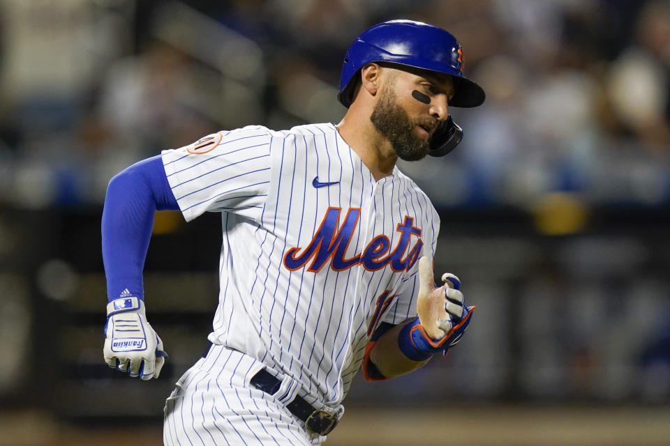 New York Mets' Kevin Pillar (11) runs the bases after hitting a home run during the fifth inning of a baseball game against the Chicago Cubs Wednesday, June 16, 2021, in New York. (AP Photo/Frank Franklin II)