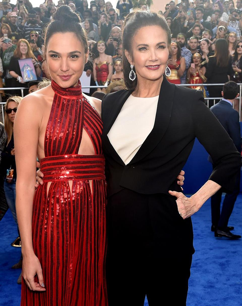 <p>Gadot teamed up with '70s Wonder Woman TV star Lynda Carter at the Los Angeles premiere on May 25, 2017. (Photo: Alberto E. Rodriguez/Getty Images) </p>