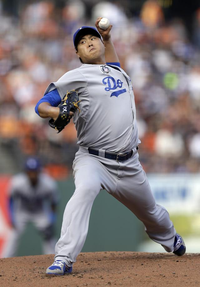 Los Angeles Dodgers' Hyun-Jin Ryu works against the San Francisco Giants in the first inning of a baseball game Sunday, July 27, 2014, in San Francisco. (AP Photo/Ben Margot)