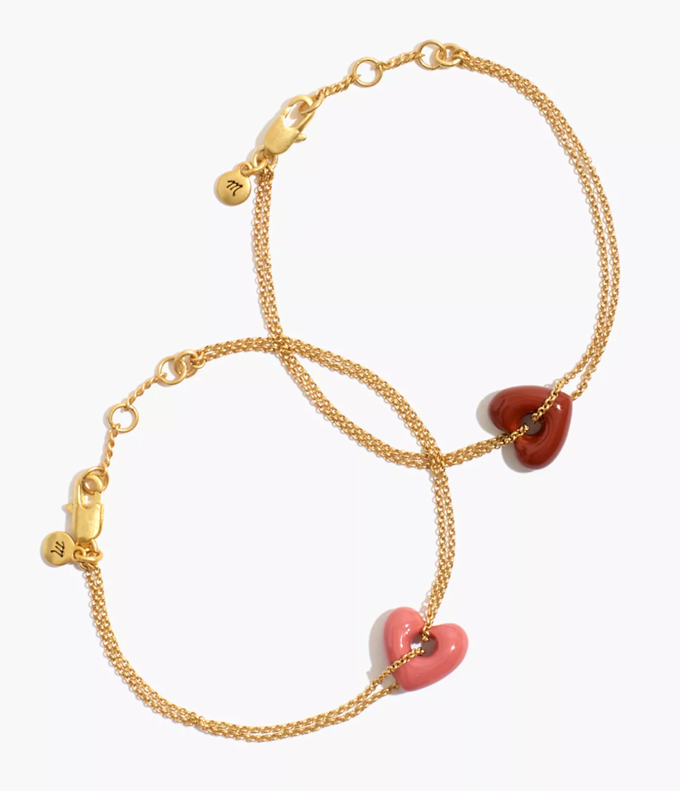 """<br><br><strong>Madewell</strong> Enamel Heart Chain Friendship Bracelet Set, $, available at <a href=""""https://go.skimresources.com/?id=30283X879131&url=https%3A%2F%2Ffave.co%2F35FqU9y"""" rel=""""nofollow noopener"""" target=""""_blank"""" data-ylk=""""slk:Madewell"""" class=""""link rapid-noclick-resp"""">Madewell</a>"""