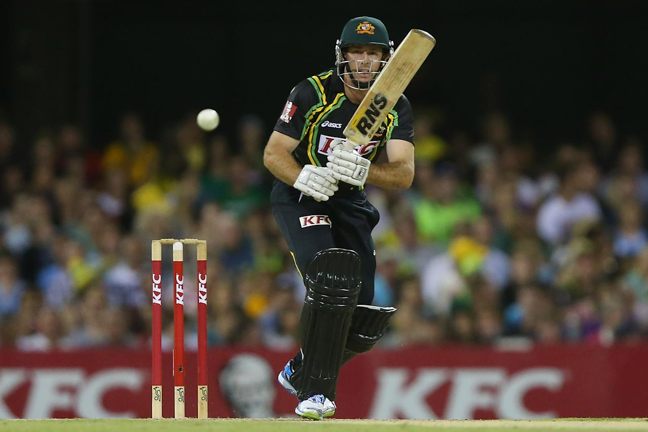 BRISBANE, AUSTRALIA - FEBRUARY 13:  Ben Rohrer of Australia bats during the International Twenty20 match between Australia and the West Indies at The Gabba on February 13, 2013 in Brisbane, Australia.  (Photo by Chris Hyde/Getty Images)