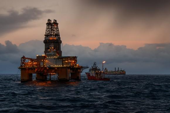 Offshore oil rig.