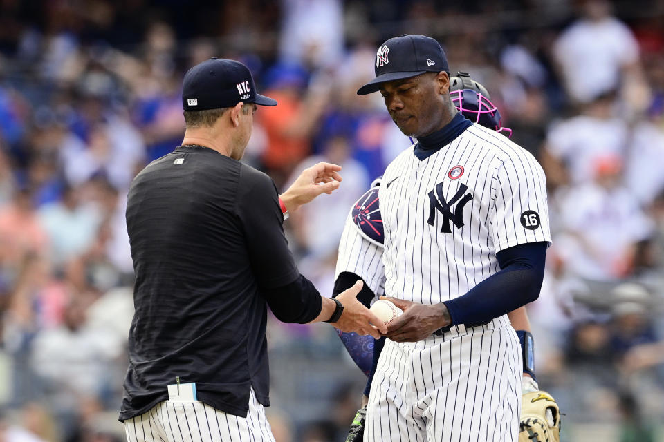 Aroldis Chapman's position as Yankees closer is tenuous right now. (Photo by Steven Ryan/Getty Images)