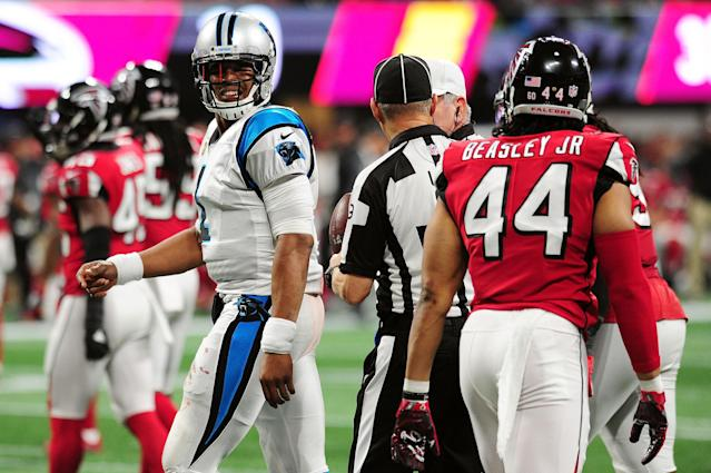 <p>Cam Newton #1 of the Carolina Panthers reacts to a play during the second half against the Atlanta Falcons at Mercedes-Benz Stadium on December 31, 2017 in Atlanta, Georgia. (Photo by Scott Cunningham/Getty Images) </p>