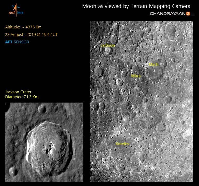 The Jackson Korolev and Mitra craters, as seen by Chandrayaan 2's TMC-2 camera. Image: ISRO