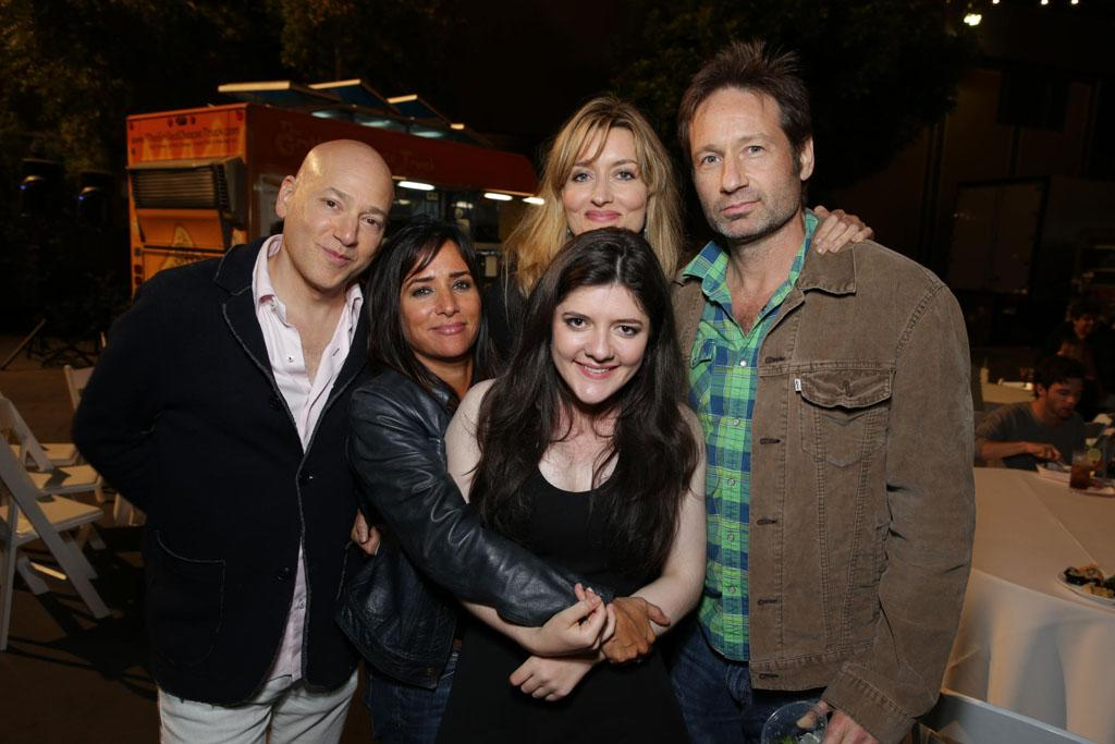 "Evan Handler, Pamela Adlon, Madeline Martin, Natasha McElhone, and David Duchovny at the ""Californication"" Season 7 wrap party in Los Angeles, California on July 28, 2013."
