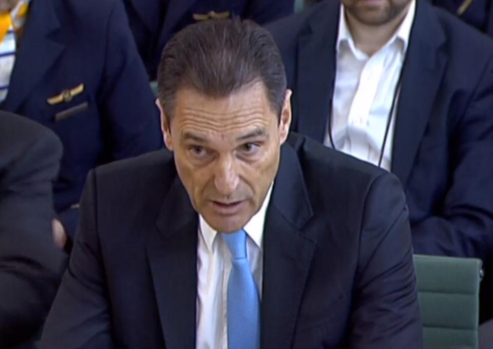 Former CEO of Thomas Cook Peter Fankhauser speaking to the House of Commons Business, Energy and Industrial Strategy Committee at Portcullis House in Westminster, during the inquiry into the collapse of the British travel operator. (Photo by House of Commons/PA Images via Getty Images)