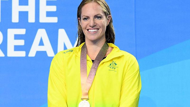 Emily Seebohm with Saturday's silver medal. Pic: Getty