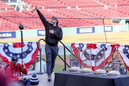 FILE PHOTO: Oct 31, 2018; Boston, MA, USA; Boston Red Sox right fielder J.D. Martinez (28) speaks before the World Series victory parade at Fenway Park. Mandatory Credit: Paul Rutherford-USA TODAY Sports/File Photo