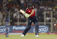 England's Jos Buttler bats during the first Twenty20 cricket match between India and England in Ahmedabad, India, Friday, March 12, 2021. (AP Photo/Aijaz Rahi)