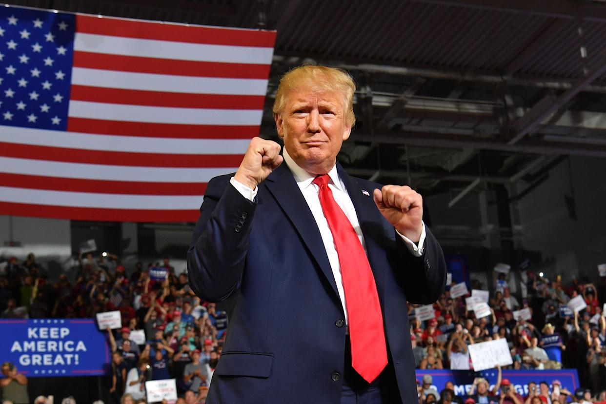 """President Trump arrives for a """"Make America Great Again"""" rally in Greenville, N.C. (Photo: Nicholas Kamm/AFP/Getty Images)"""