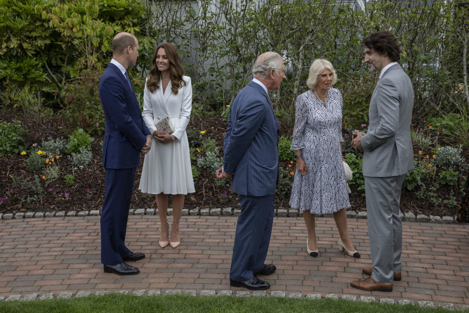 The royal mother-of-three wore a white Alexander McQueen dress. (Getty Images)