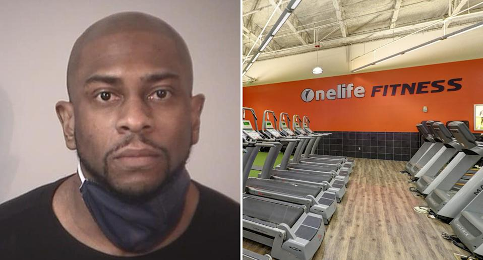 Brian Anthony Joe's mugshot (left) and the gym he was arrested at (right)