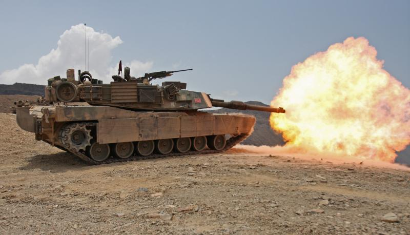 An M1 Abrams tank fires during a wargame practice.