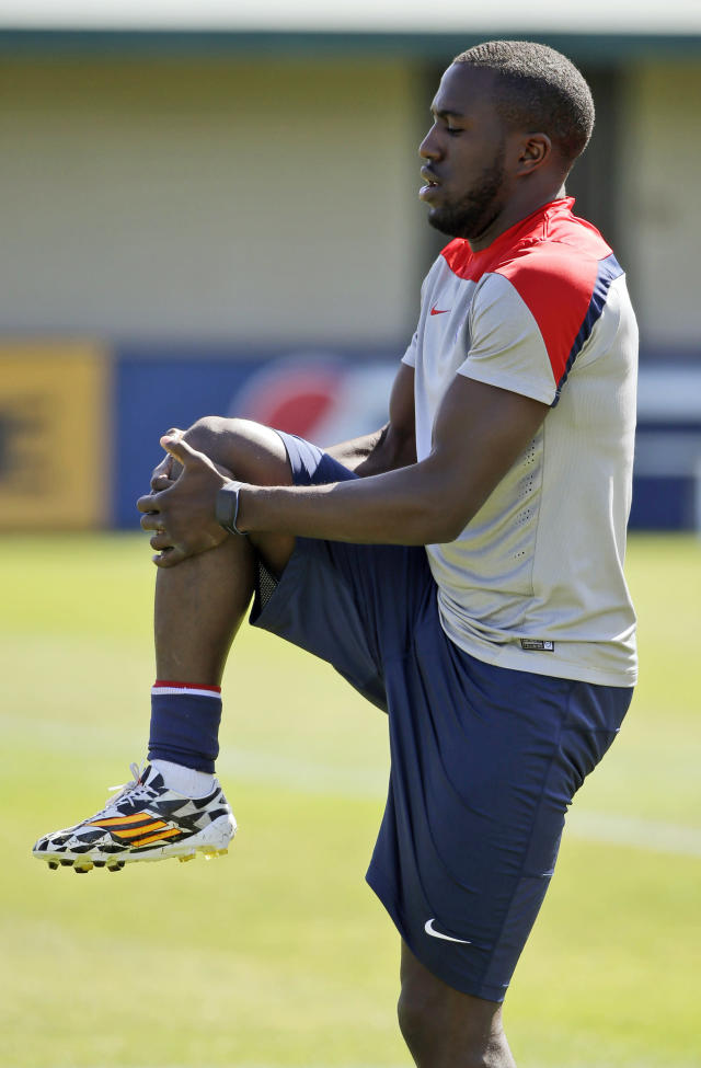 United States' Jozy Altidore stretches during training in preparation for the World Cup soccer tournament on Wednesday, May 21, 2014, in Stanford , Calif. (AP Photo/Marcio Jose Sanchez)