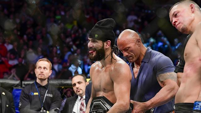 Jorge Masvidal benefited from a third-round TKO after Nate Diaz had a big cut over his right eye in the non-title clash.