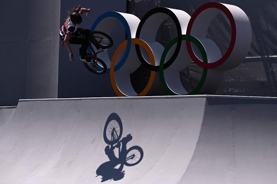 Britain's Charlotte Worthington competes in the cycling BMX freestyle women's park final.