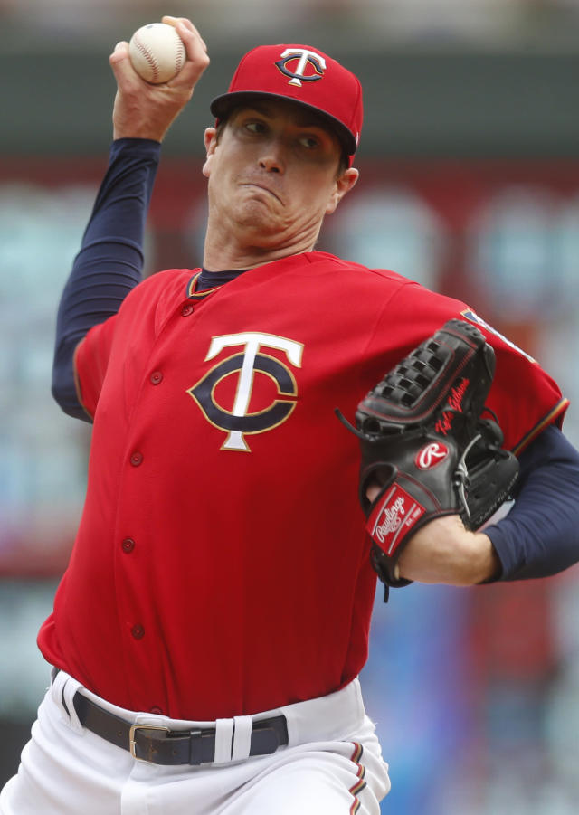Minnesota Twins pitcher Kyle Gibson throws against the Chicago White Sox in the fourth inning of a baseball game Saturday May 25, 2019, in Minneapolis. (AP Photo/Jim Mone)