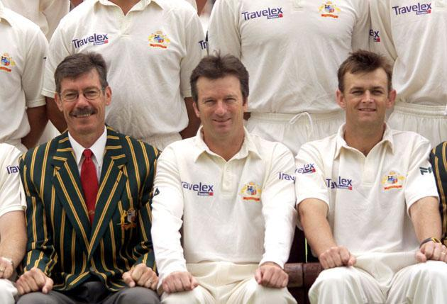 John Buchanan, Steve Waugh and Adam Gilchrist of Australia, pose in the team photograph, at Lords, London, England.  DIGITAL IMAGE Mandatory Credit: Hamish Blair/ALLSPORT