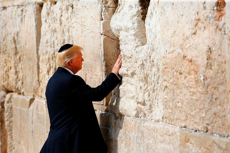 President Donald Trump visits the Western Wall, the holiest site where Jews can pray, in Jerusalem's Old City on May 22, 2017.