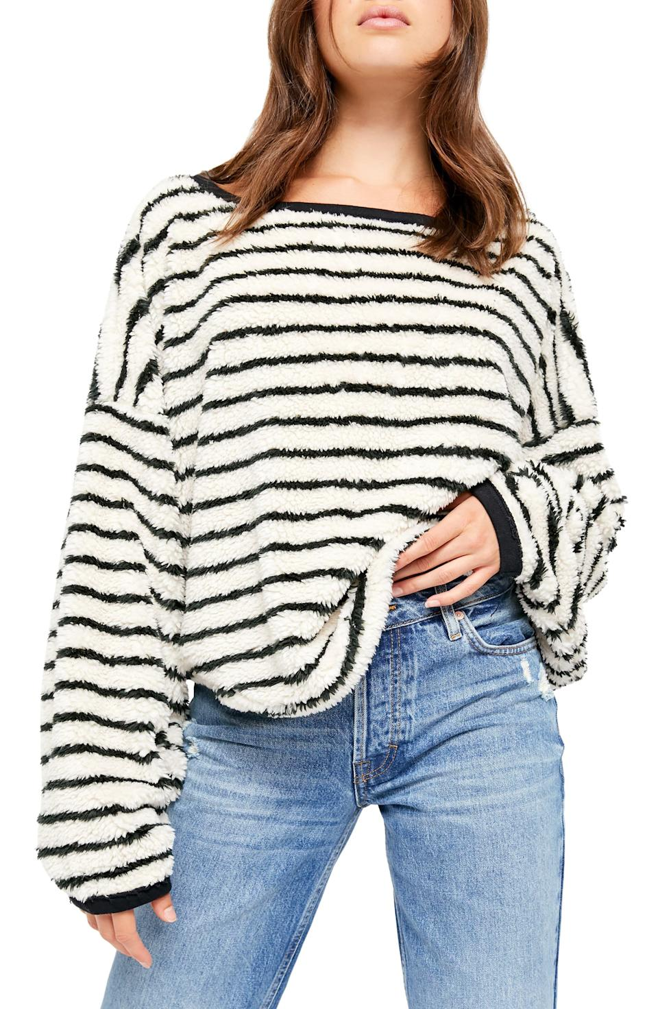 """<p><strong>FREE PEOPLE</strong></p><p>nordstrom.com</p><p><strong>$64.90</strong></p><p><a href=""""https://go.redirectingat.com?id=74968X1596630&url=https%3A%2F%2Fshop.nordstrom.com%2Fs%2Ffree-people-breton-stripe-pullover%2F5439397&sref=https%3A%2F%2Fwww.goodhousekeeping.com%2Flife%2Fmoney%2Fg33419415%2Fbest-nordstrom-anniversary-sales-2020%2F"""" rel=""""nofollow noopener"""" target=""""_blank"""" data-ylk=""""slk:Shop Now"""" class=""""link rapid-noclick-resp"""">Shop Now</a></p><p><em>originally $98<br><br></em>Elevate your fall and winter wardrobe with this black and white striped sweater with a flattering boat neck.</p>"""