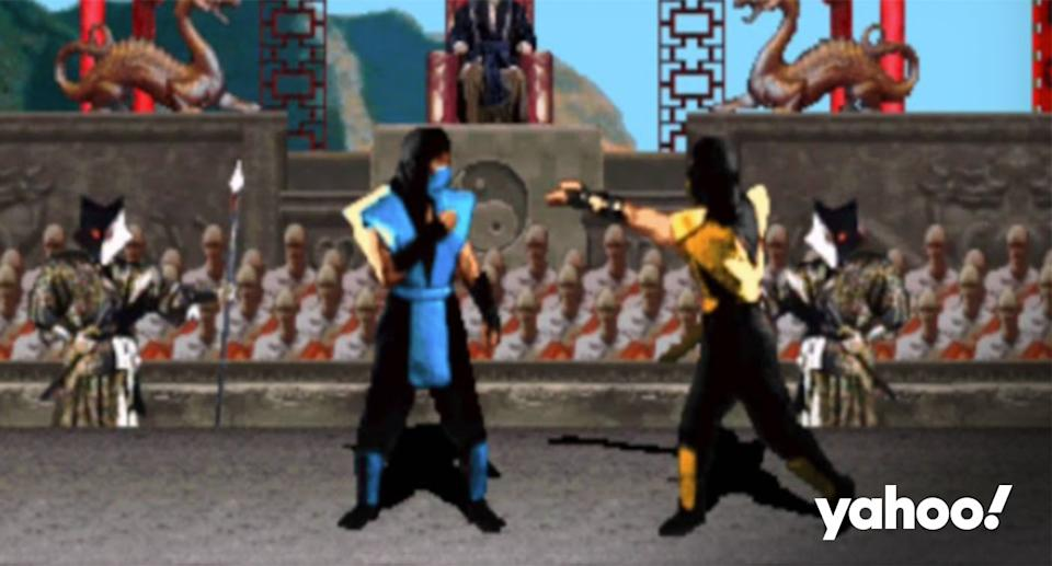 Two characters fight one another in Mortal Kombat game.