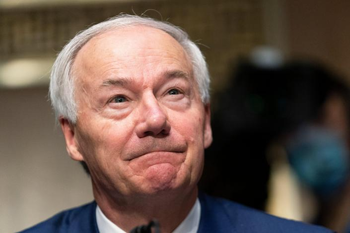 FILE - In this Tuesday, June 22, 2021, file photo, Arkansas Gov. Asa Hutchinson testifies before a Senate Judiciary Committee hearing on Capitol Hill, in Washington (AP)
