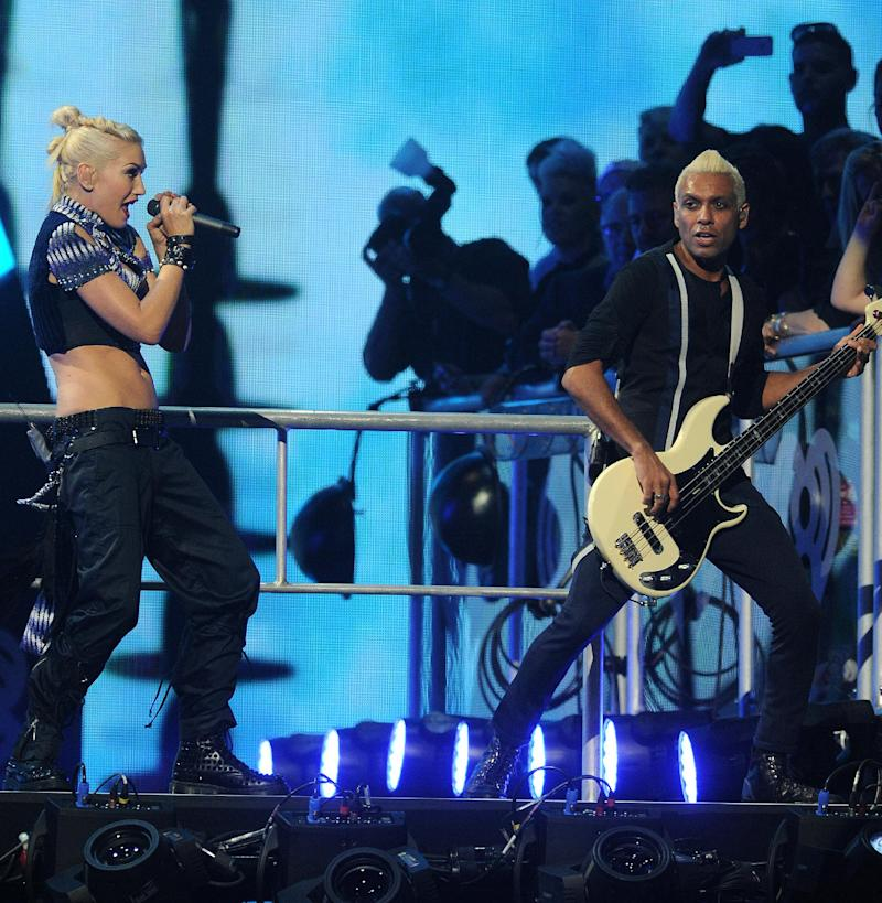 Gwen Stefani and Tony Kanal of No Doubt perform at the iHeart Radio Music Festival on Friday, Sept., 21, 2012 at the MGM Grand Arena in Las Vegas. (Photo by Eric Reed/Invision/AP)