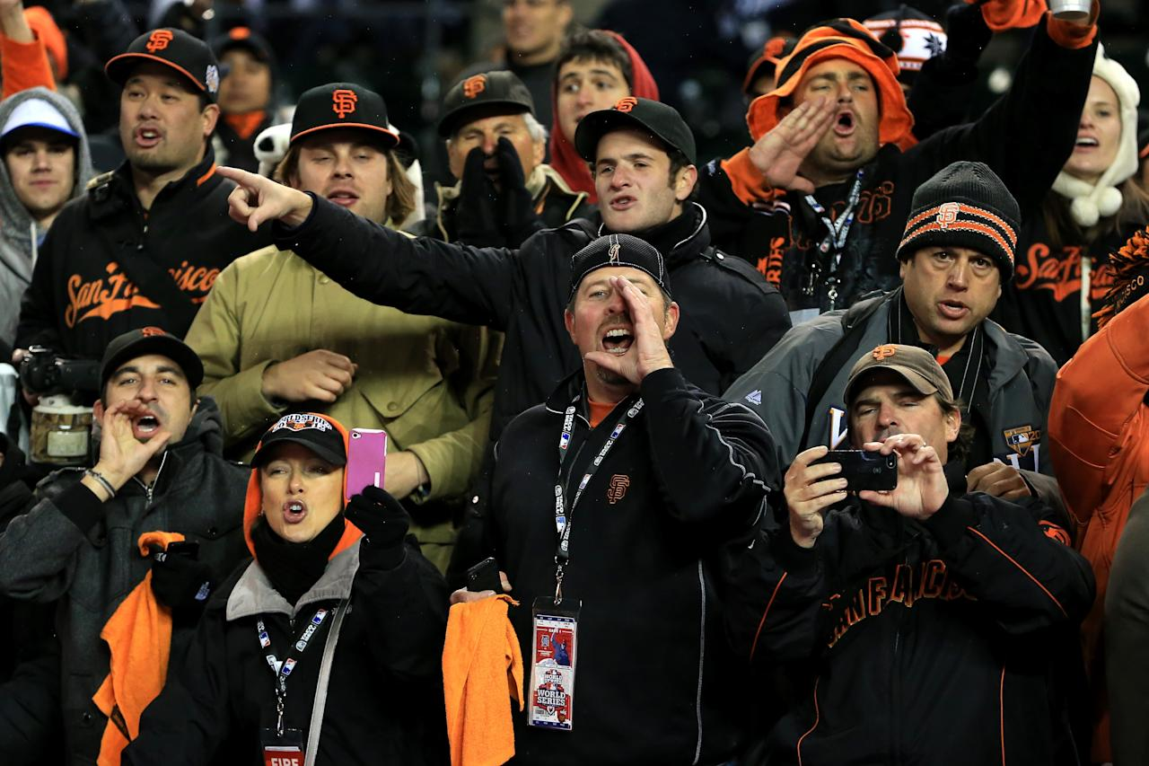 DETROIT, MI - OCTOBER 28:  The San Francisco Giants fans cheer after defeating the Detroit Tigers in the tenth inning to win Game Four of the Major League Baseball World Series at Comerica Park on October 28, 2012 in Detroit, Michigan. The San Francisco Giants defeated the Detroit Tigers 4-3 in the tenth inning to win the World Series in 4 straight games.  (Photo by Doug Pensinger/Getty Images)