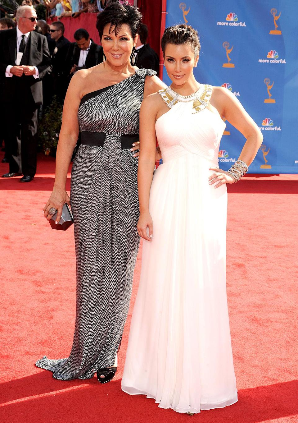 "<p>Kris Jenner and Kim Kardashian had a mother-daughter date on the red carpet, and Kim <a href=""https://www.youtube.com/watch?v=bU9UhNYbR74"" rel=""nofollow noopener"" target=""_blank"" data-ylk=""slk:flexed her vocal skills"" class=""link rapid-noclick-resp"">flexed her vocal skills</a> while introducing the reality category (of course!) with Jimmy Fallon.</p>"
