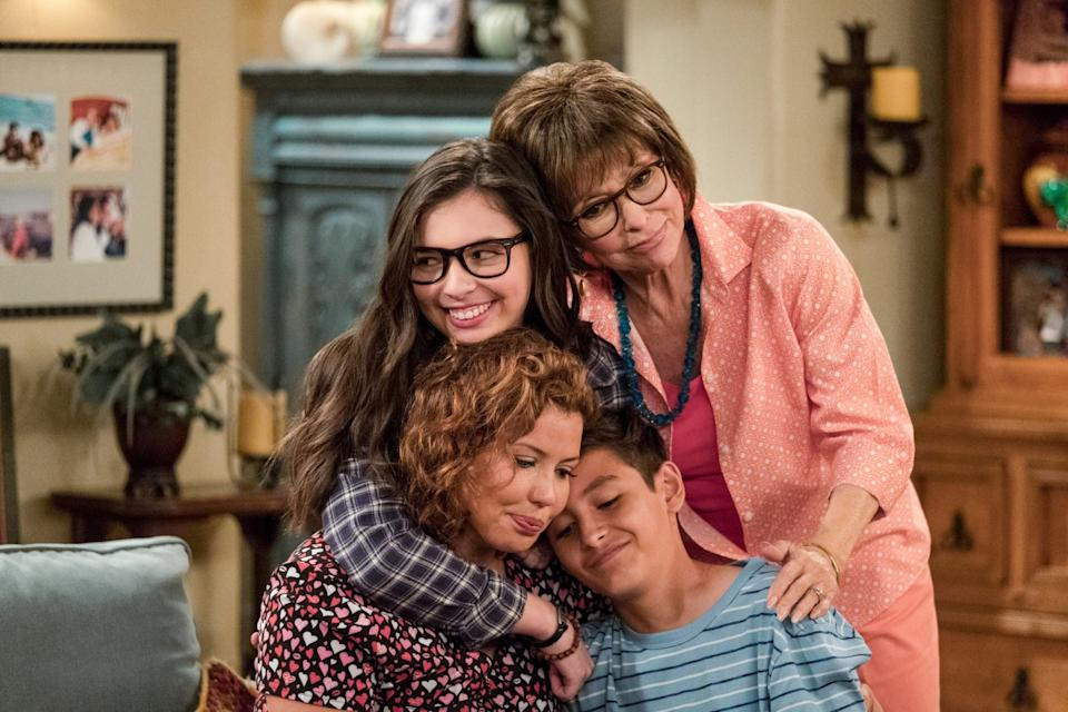 "The cast of ""One Day at a Time"" includes, clockwise from bottom left: Justina Machado, Isabella Gomez, Rita Moreno and Marcel Ruiz. <span class=""copyright"">(Adam Rose / Netflix)</span>"