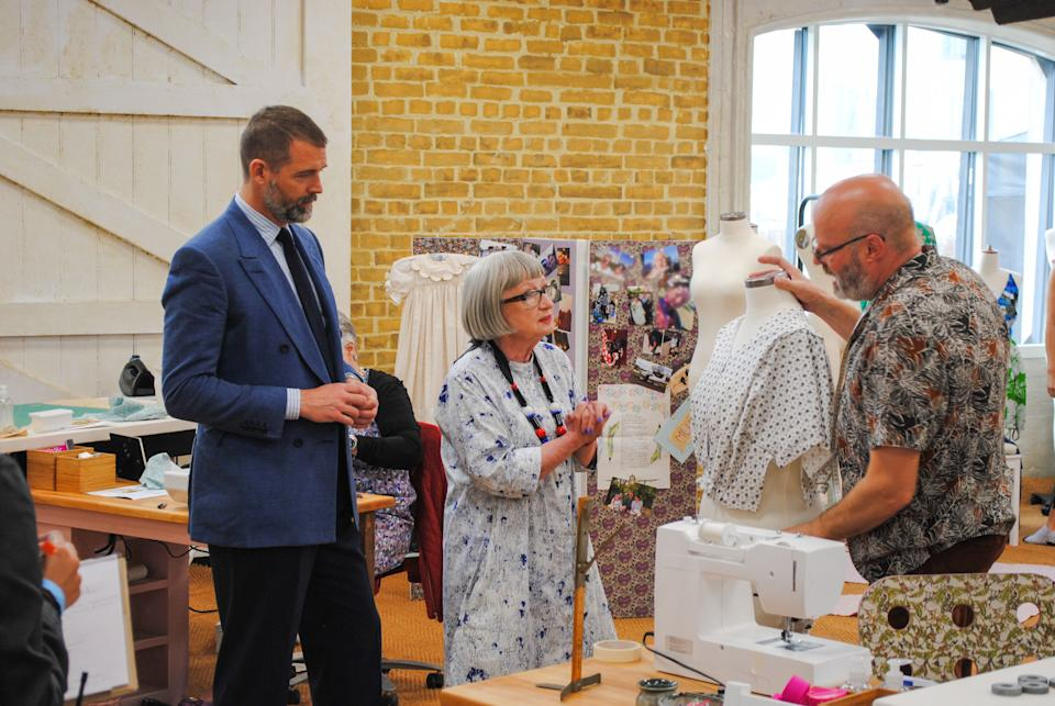 Sewing Bee's Patrick Grant and Esme Young with contestant Andrew. (BBC/Love Productions)