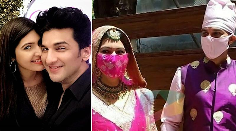 Masked and Married! TV Actors Manish Raisinghan and Sangeita Chauhaan Take Their Wedding Vows Amidst the Pandemic (Watch Video)