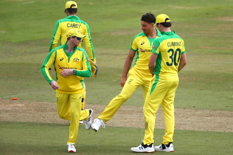Marcus Stoinis and Steve Smith of team Cummins celebrate a wicket during the 50 over Australia Inter-Squad Warm Up Match at Ageas Bowl on August 30, 2020 in Southampton, England.