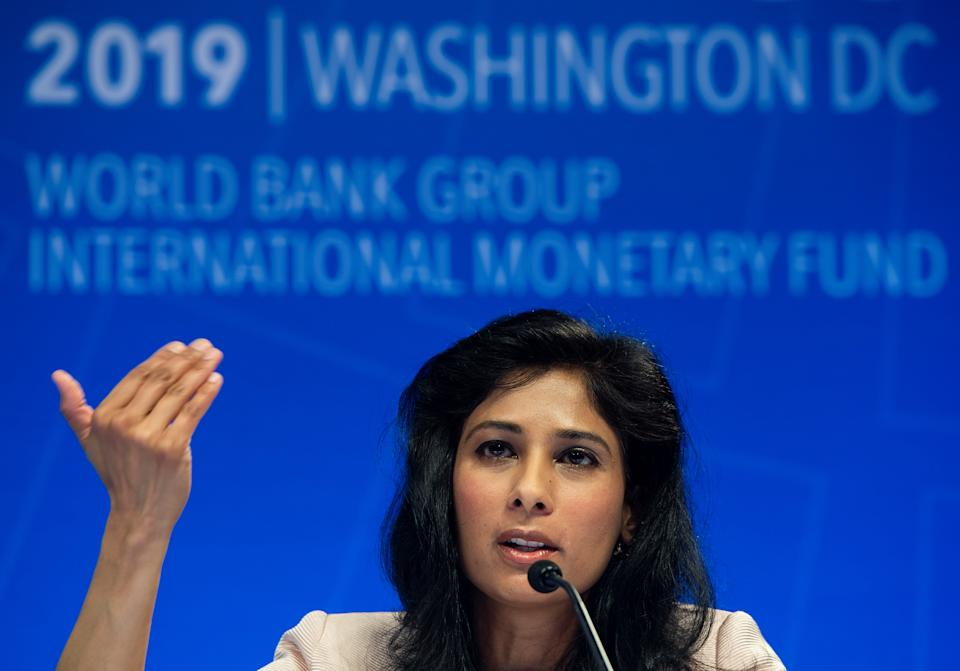"""Chief Economist and Director of the Research Department at the International Monetary Fund (IMF), Gita Gopinath, speaks during a press conference  in Washington, DC on April 9, 2019. - The global economy is facing a """"delicate moment,"""" beset with risks as the recovery loses steam amid trade tensions, Brexit and other factors, the International Monetary Fund warned Tuesday. (Photo by Andrew CABALLERO-REYNOLDS / AFP)        (Photo credit should read ANDREW CABALLERO-REYNOLDS/AFP/Getty Images)"""