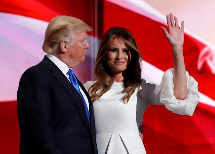 Melania Trump stands with her husband Donald Trump at the Republican National Convention. (Photo: Mark Kauzlarich/Reuters)