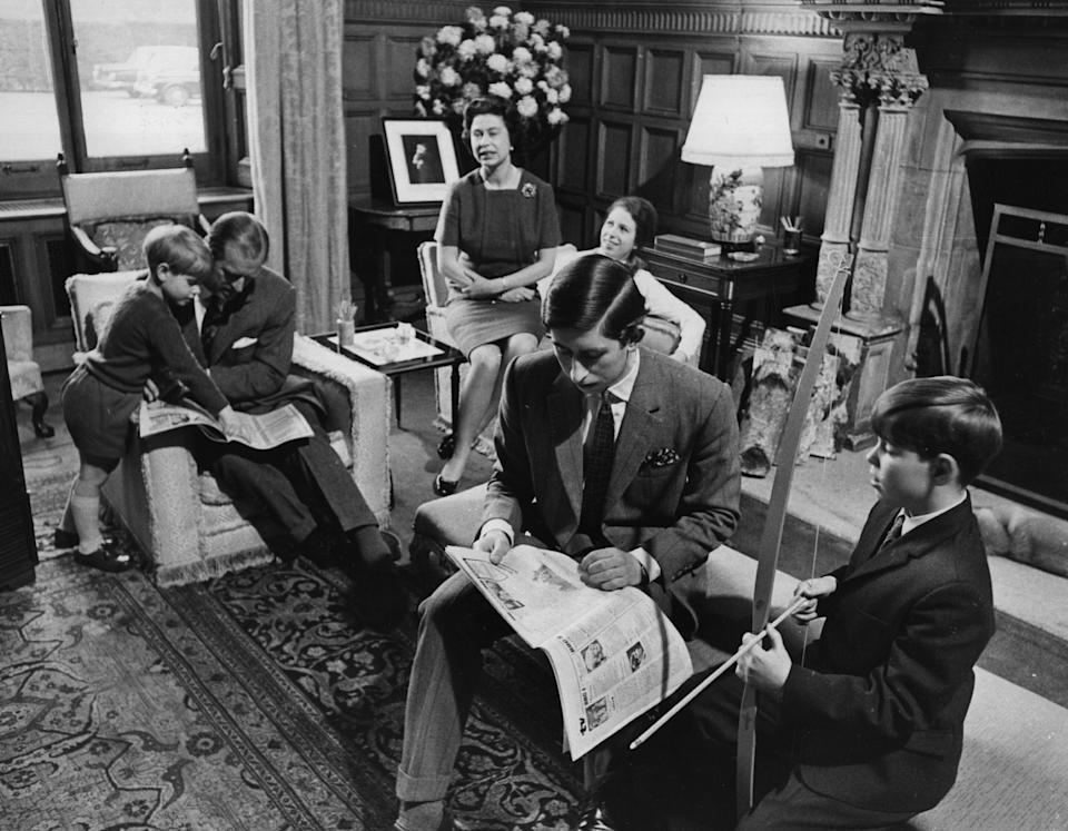 The royal family relaxing in a drawing room at Sandringham House in Norfolk in April 1969.
